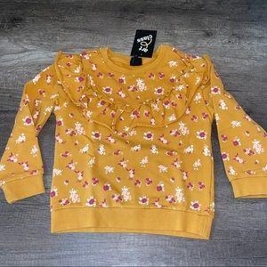 Art Class Target Girls Gold Mustard Floral Sweater